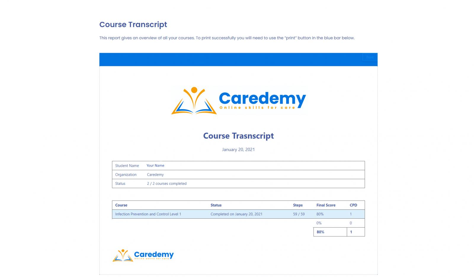 Learner Transcript